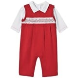 Kissy Kissy White Collared Top and Red Jersey Smocked Overall Christmas Set