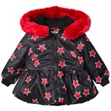 The BRAND Star Peplum Jacket with Red Fur Trim