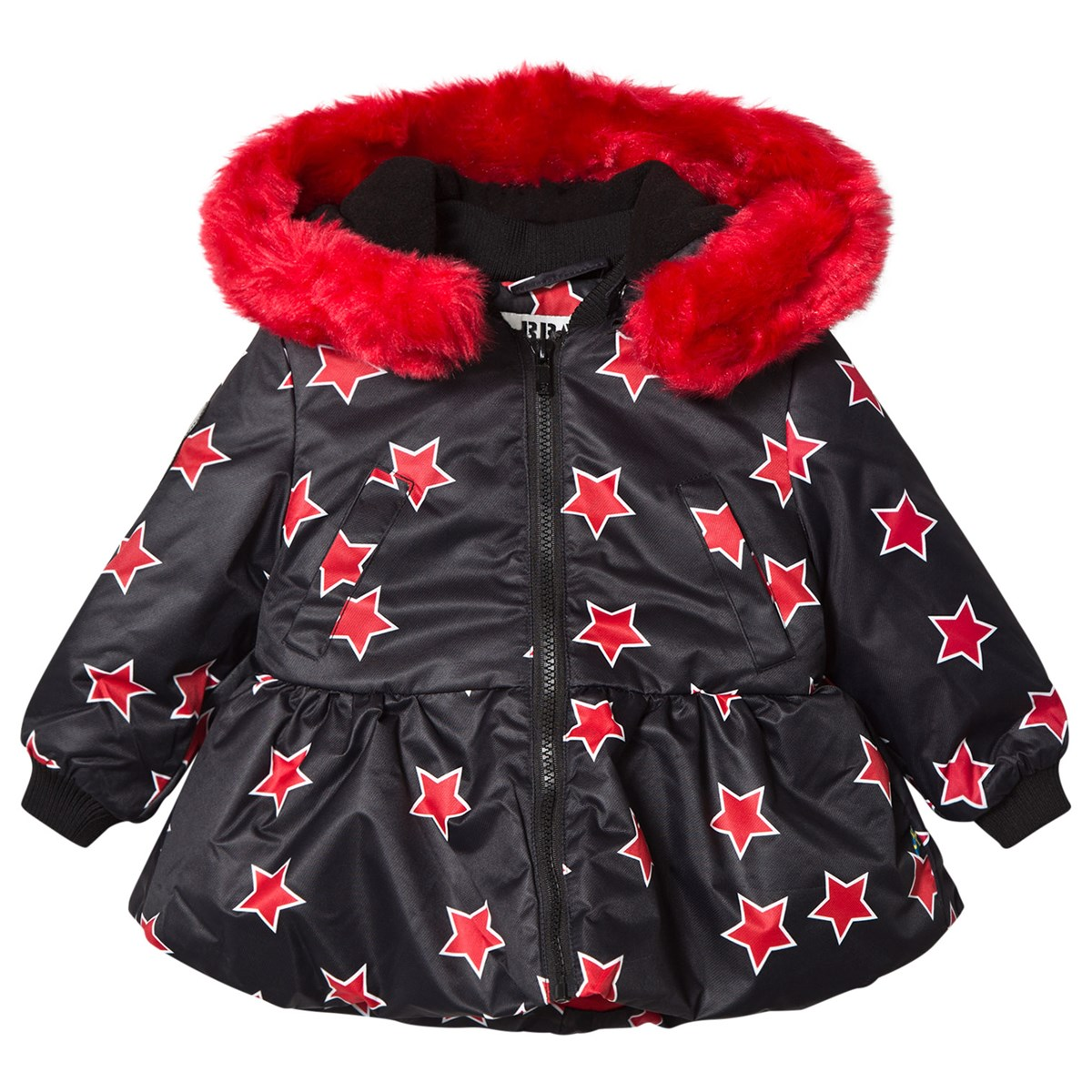 4e2d79308 The BRAND Star Peplum Jacket with Red Fur Trim