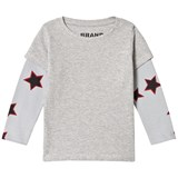 The BRAND Double Tee Grey Mel With Red Allstar Sleeves
