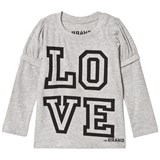 The BRAND Love Kiss Tee Grey Melange With Black Sleeves