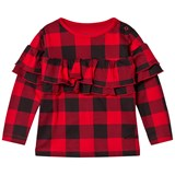 The BRAND Sleeve Wave Top Red Checked