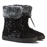 Stuart Weitzman Black Suede Glitter Zip Boots with Faux Fur Lining