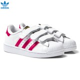adidas Originals White and Pink Superstar Velcro Trainers