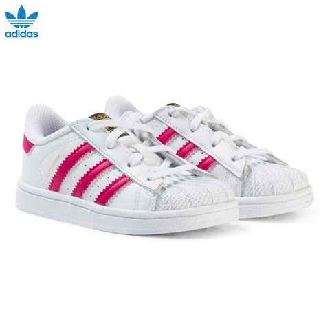 adidas Originals White and Pink Superstar Trainers