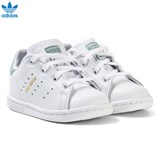 adidas Originals White and Mint Green Infants Stan Smith Trainers