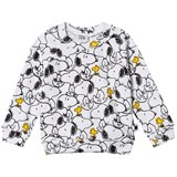 Tobias & The Bear White and Black Multi Snoopy & Woodstock Loopback Light Weight Sweatshirt