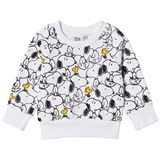 Tobias & The Bear White and Black Multi Snoopy & Woodstock Loopback Sweatshirt