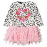 Kate Mack - Biscotti Leopard Print and Rose Heart Tulle Skirt