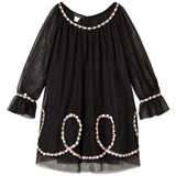 Kate Mack - Biscotti Black Tulle Embroidered Flower Dress