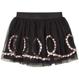 Kate Mack - Biscotti Black Flower Embroidered Skirt