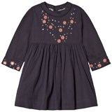 Velveteen Navy Claudia with Floral Sleeve Dress