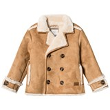 Pepe Jeans Camel Shearling Double Breasted Coat
