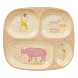 RICE A/S Kids 4 Room Bamboo Melamine Plate w. Girls Animal Print