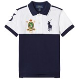 Ralph Lauren White and Navy Short Sleeve Polo with Big PP