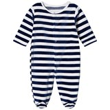 Kissy Kissy Navy Velour Stripe Babygrow