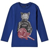 IKKS Blue Bad Catz Print Tee