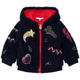Little Marc Jacobs Navy Faux Fur Sequin Hooded Jacket