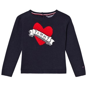 Tommy Hilfiger Navy Branded Heart Sweater 4 years