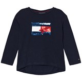 Tommy Hilfiger Navy Sequin Branded Flag Long Sleeve Tee