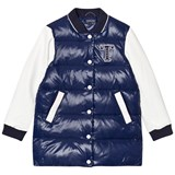 Tommy Hilfiger Navy and White Down Longline Bomber Jacket