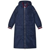 Tommy Hilfiger Navy Branded Longline Padded Coat