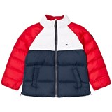 Tommy Hilfiger Navy, Red and White Colourblock Branded Padded Jacket