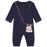 Little Marc Jacobs Navy Bag Print Frill Front Babygrow