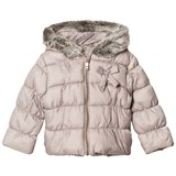 Lili Gaufrette Taupe Hooded Puffer Coat with Faux Fur Hood
