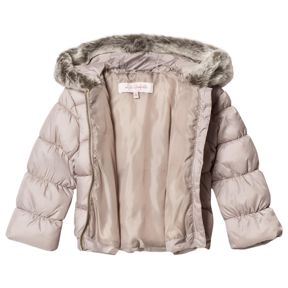 4bee9355e Lili Gaufrette Taupe Hooded Puffer Coat with Faux Fur Hood ...