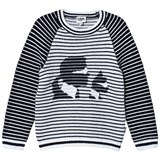 Karl Lagerfeld Kids Black and White Stripe Karl and Choupette Knit Jumper