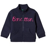 United Colors of Benetton L/S Zip Sweater Jacket With Knit Logo Navy