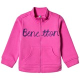 United Colors of Benetton L/S Zip Sweater Jacket With Knit Logo Fushcia