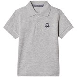 United Colors of Benetton S/S Pique Logo Polo T-Shirt Light Grey