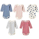 Petit Bateau (Pack of 5) Patterned Baby Bodies