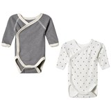 Petit Bateau (White and Grey) 2 Pack Bodies