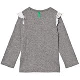 United Colors of Benetton L/S Slub Cotton T-Shirt With Frill Shoulder Detail Mid Grey