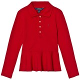Ralph Lauren Red Long Sleeve Peplum Polo Top
