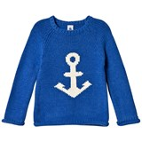 Petit Bateau Blue and Cream Fine Knitted Sweater