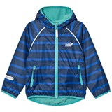 Muddy Puddles Blue and Navy Stripe Ecosplash Hooded Jacket