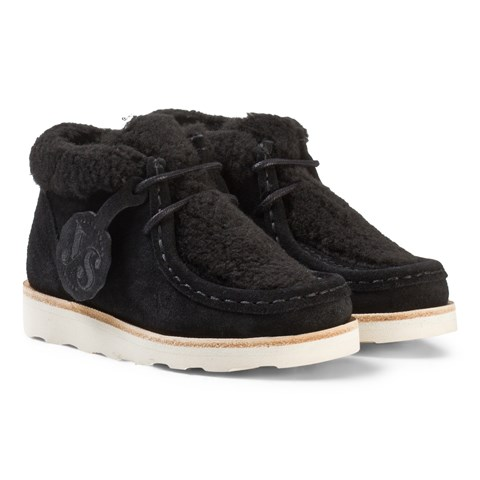 Young Soles Black Shearling and Suede Moccasins