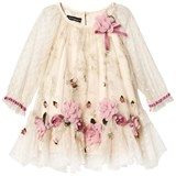 Kate Mack - Biscotti Ivory Embroidered Flower Tulle Dress