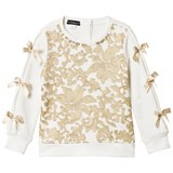 Kate Mack - Biscotti Cream and Gold Lace Front and Bow Sweatshirt