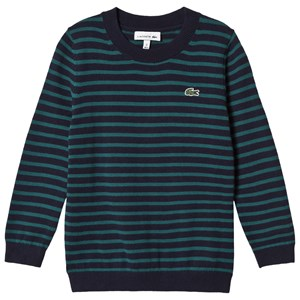 Lacoste Navy and Green Stripe Branded Knit Jumper 14 years