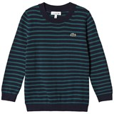 Lacoste Navy and Green Stripe Branded Knit Jumper