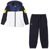 Lacoste Navy and White Panel Diamond Weave Tracksuit