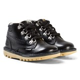 Kickers Black Leather Chuk Fur Lined Boots