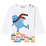 Paul Smith Junior White Skating Bear and Scarf Applique Tee