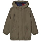 Paul Smith Junior Khaki Water-Repellent Hooded Parka with Quilted Lining