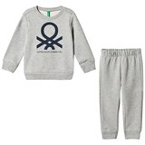 United Colors of Benetton Light Grey Jersey Logo Sweater & Trouser Set